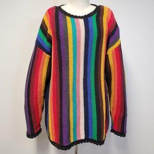 Vtg 80s/90s Rainbow Vertical Stripe Sweater Plus